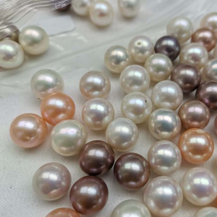 Huge Natural Round AAA 14-15mm Golden South Sea Loose Pearl half Drilled