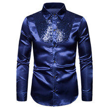 MoneRffi Sequin Zijde Satijn Shirt Mannen Wedding Bruidegom Jurk Shirts Heren Nachtclub Disco Dance Party Prom Custyme Chemise Homme(China)