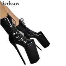 Botines de Mujer de PU negros de talla grande, calzado de fiesta, tacones de punta, correa de hebilla, novedad de 2018