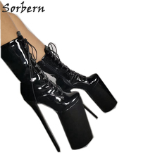 黒 pu アンクルブーツプラスサイズの女性のパーティー靴 chaussures ファムスパイクハイヒールバックルストラップ 2018 新 botines mujer