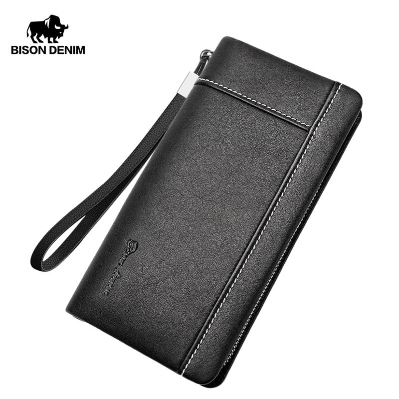BISON DENIM Genuine Leather Men Wallet Long Clutch Bag Cowskin Card Holder Male Purse Zipper Large Capacity Wallet For Men N8244