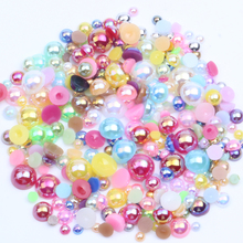 3mm 1000pcs Resin Beads Many AB Colors Loose Imitation Flatback Half Round Pearls For Jewelry Nails Art Tips Decoration