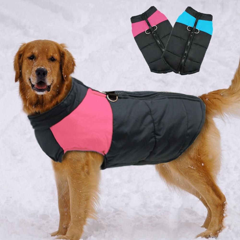 Жилет для больших собак водонепроницаемый, теплая зимняя куртка, одежда для маленьких и больших собак, пальто для щенков, Мопсов, одежда для ...