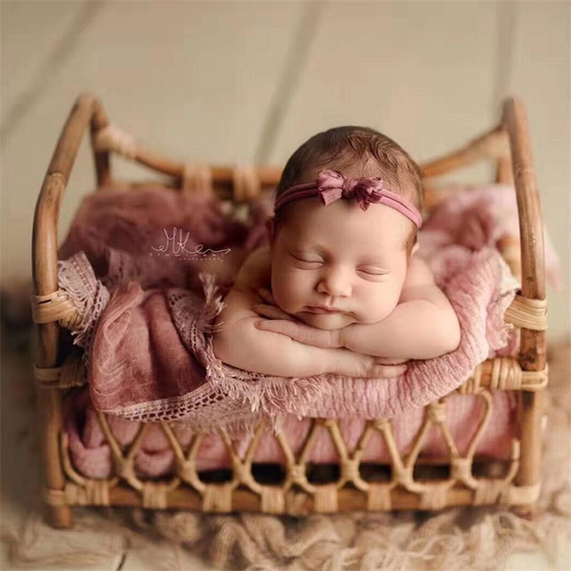 Fotografie Baby Props Vintage Woven Rattan Basket Newborn Photography Props Basket Baby Posing Sofa Bed Accessoire Bebe Photo