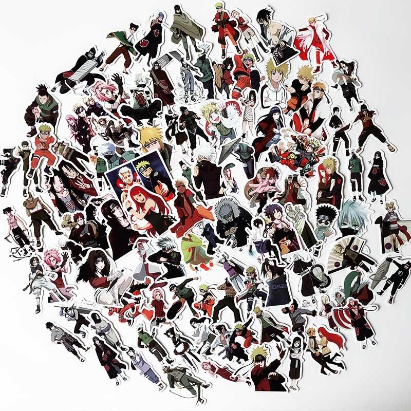 100 PCS Anime Sticker Naruto Sasuke Cartoon For Snowboard Laptop Luggage Fridge Car- Styling Vinyl Decal Stickers