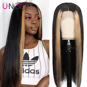 "Image 1 - Unice Hair 13x4 Highlight Lace Front Human Hair Wigs 8 24"" Brazilian straight Hair Wigs Human Hair Natural Wigs Free Shipping"
