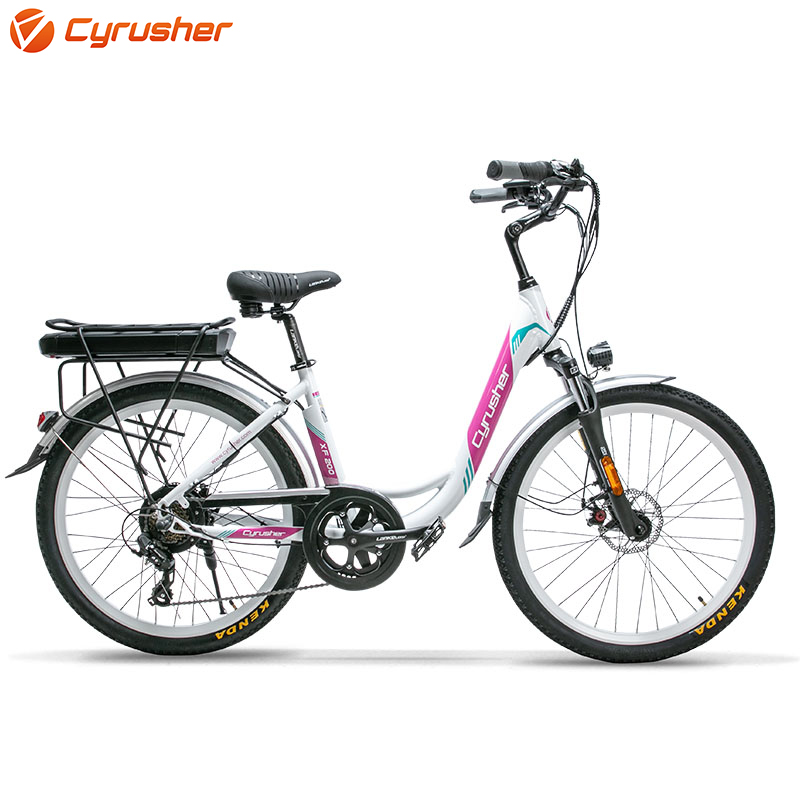 Cyrusher XF200 48V 500W Electric Bicycle for women 14ah Li-battery Double Suspension Seat Electric Bike Ebike with Rear Rack New