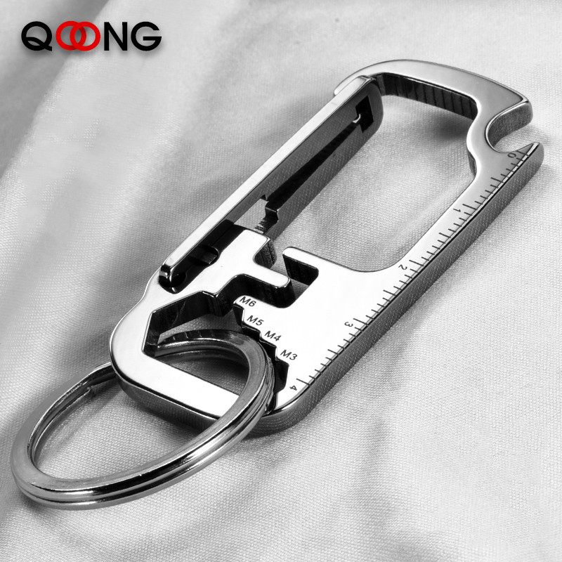 QOONG 2020 Stainless Steel Keyrings EDC Multi Function Tool Keychains With Wrench Bottle Opener Ruler Key Chain Ring Holder Y83
