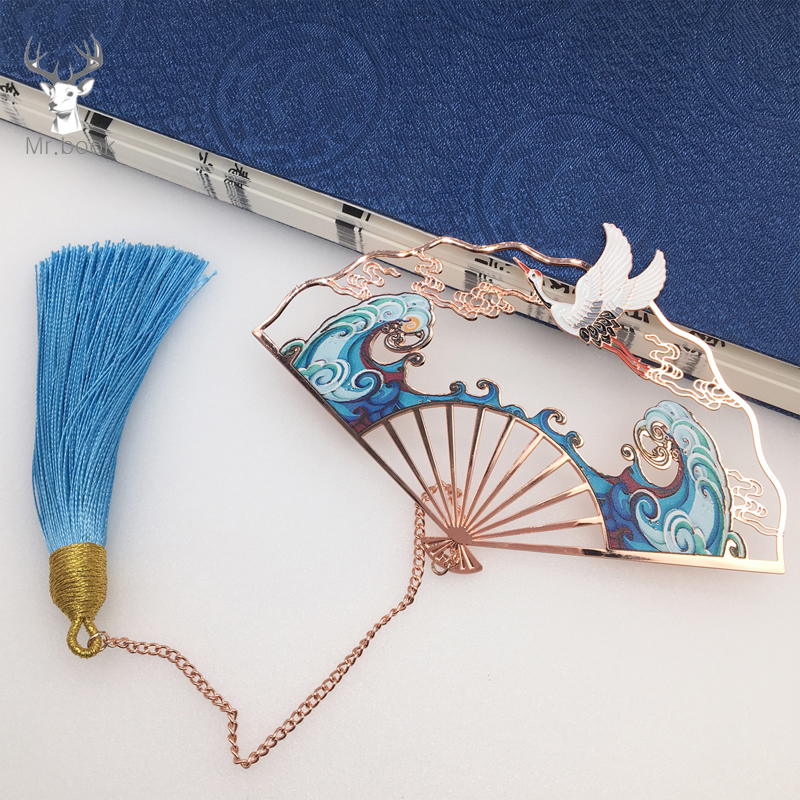 Rose Gold Folding Fan Bookmarks Metal White Crane Flying Over The Waves Tassel Bookmark Stationery Book Clip Office Accessories