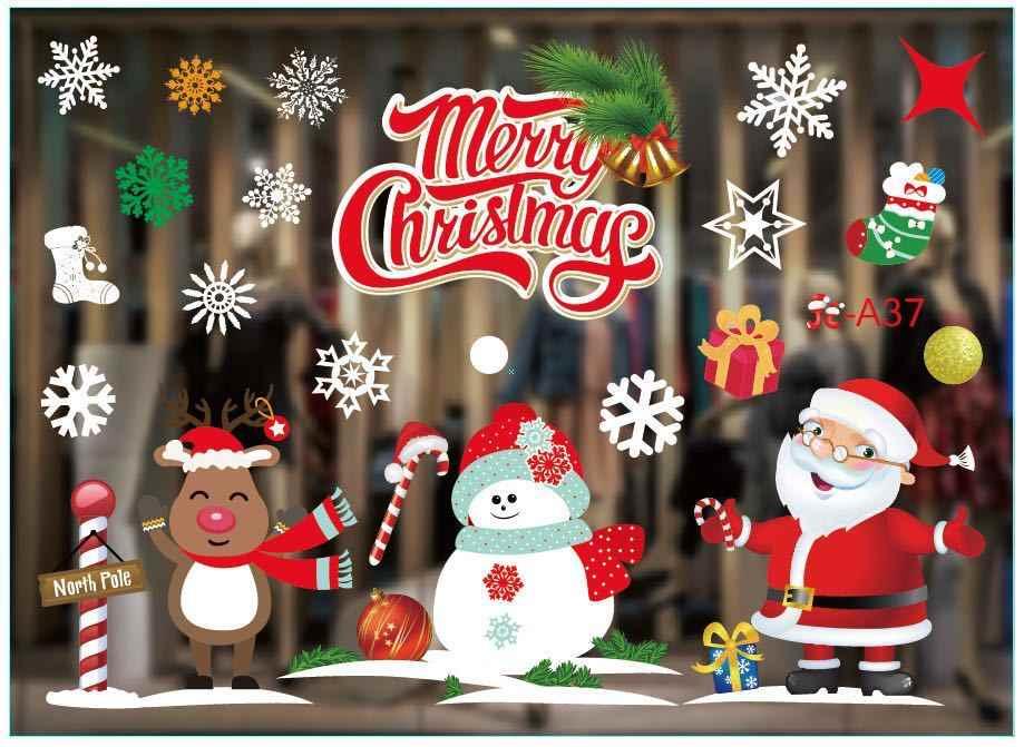 Nowy boże narodzenie okno dekoracyjne naklejki na szkło wesołych boże narodzenie Santa Claus śnieg pcv zdejmowana naklejka na ścianę na boże narodzenie Home naklejki