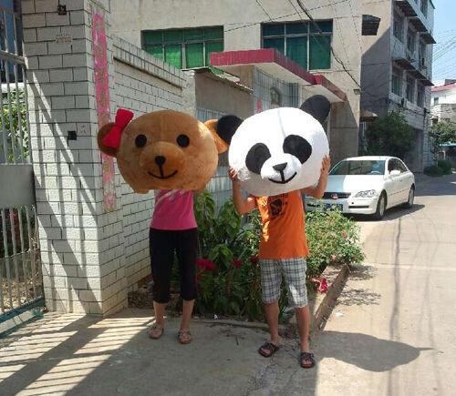 Хэллоуин любовник головы Панда и медведь маскарадный костюм нарядное платье Свадебная вечеринка реквизит взрослый Косплей наружная голов... - 5