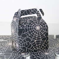 10pcs Black Halloween Party Favors Boxes Candy Treat Boxes Spider Web Gift Boxes Wedding Wrapping Paper Bags with Handles