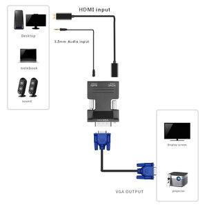 Image 3 - חם 1080P HDMI ל vga כבל ממיר עם אודיו נקבה לזכר כבלי מתאמים עבור HDTV מקרנים צג עבור PS3