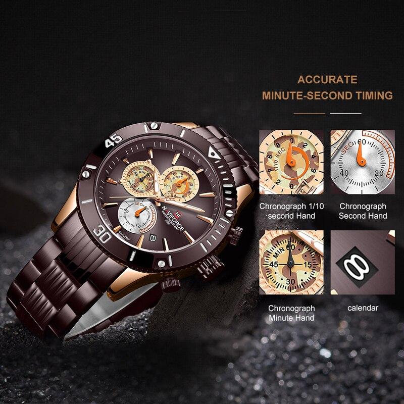 Топ бренд NAVIFORCE мужские часы модные роскошные коричневые из нержавеющей стали мужские деловые часы мужские повседневные спортивные водоне... - 5