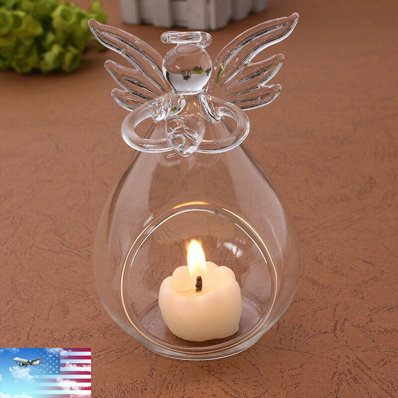 2020 Hot Angel Glass Crystal Hanging Tea Light Candle Holder Home Decor Candlestick Retro Glass Lantern Home Party Decor(China)