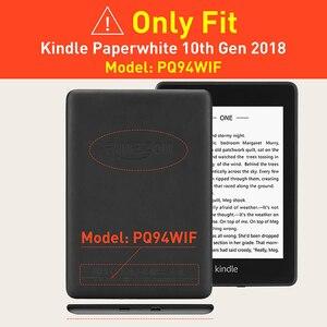 Image 2 - BOZHUORUI etui z podstawką do całkowicie nowego Kindle Paperwhite (10. Generacji, 2018 wydania) PU skórzany pokrowiec z pasek na rękę