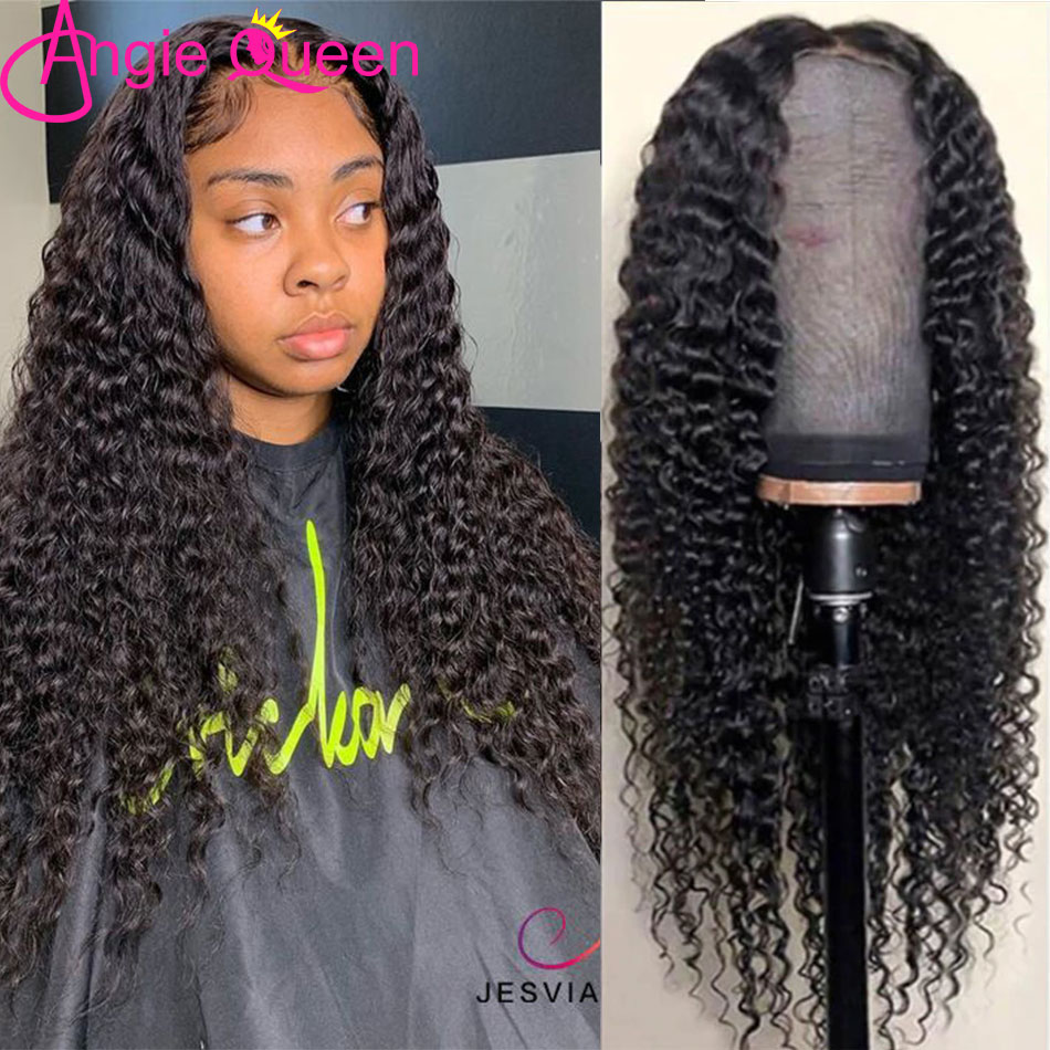 Deep Wave Lace Closure Human Hair Wigs ANGIE QUEEN Pre Pluked 2x6 Lace part Natural Color Malaysia 150%Density Non-Remy Hair Wig