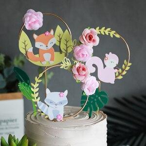 Image 2 - Decoración de Pastel con tema de animales de bosque hermoso, corona de flores de ardilla de zorro, para pastel guirnalda, Topper para fiesta de Cumpleaños de Niños, suministros