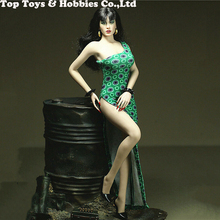 mnotht 1 6 soldier dress cheongsam slit skirt sexy model girl evening dress clothes black blue toys for 12 action figure m2n 1/6 Female Dress Clothes Custom 1/6 One-shoulder Slit Dress Cheongsam Skirt F 12 Female Clothing Figure