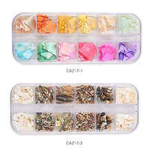 1 Box 12-Color Nails Abalone Shell Fragments Natural Stone Nail Art Mermaid Glitter Flakes Sparkly Manicure