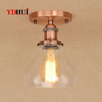 DOXA American Vintage Ceiling Lamps For The Living Room Iron Ceiling Light Glass Plafond Verlichting Bedroom Lighting Fixtures