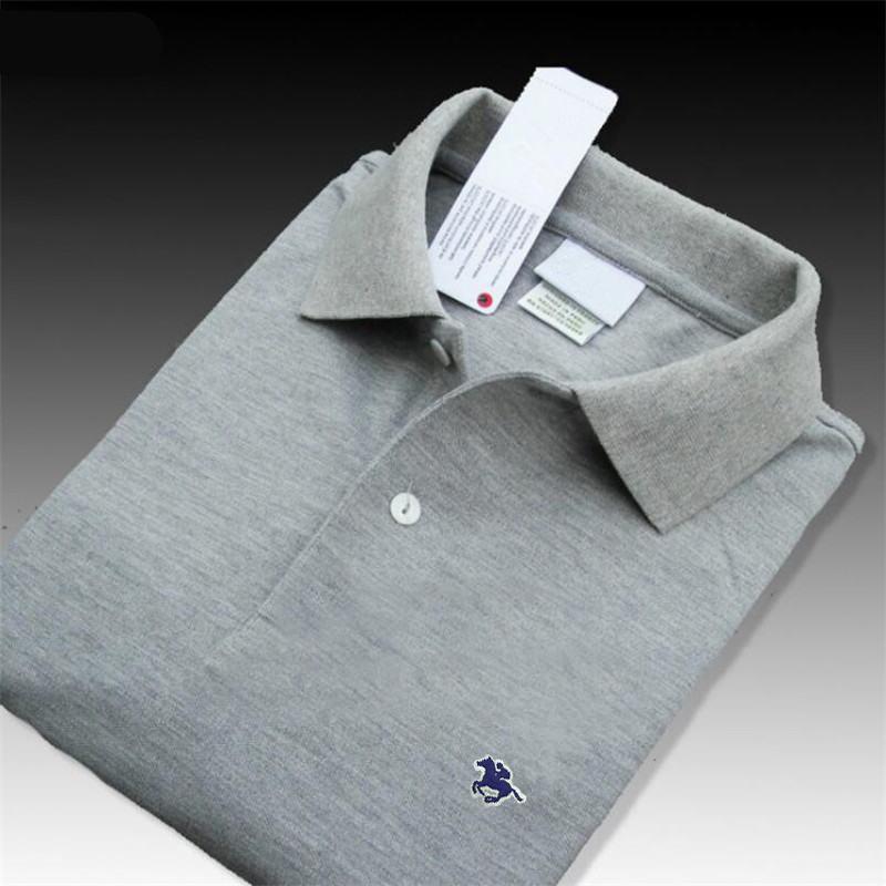 Top quality 2019 Summer 100% Cotton men's short sleeve   polos   shirts small horse casual mens lapel tees XS-4XL mens fashion tops