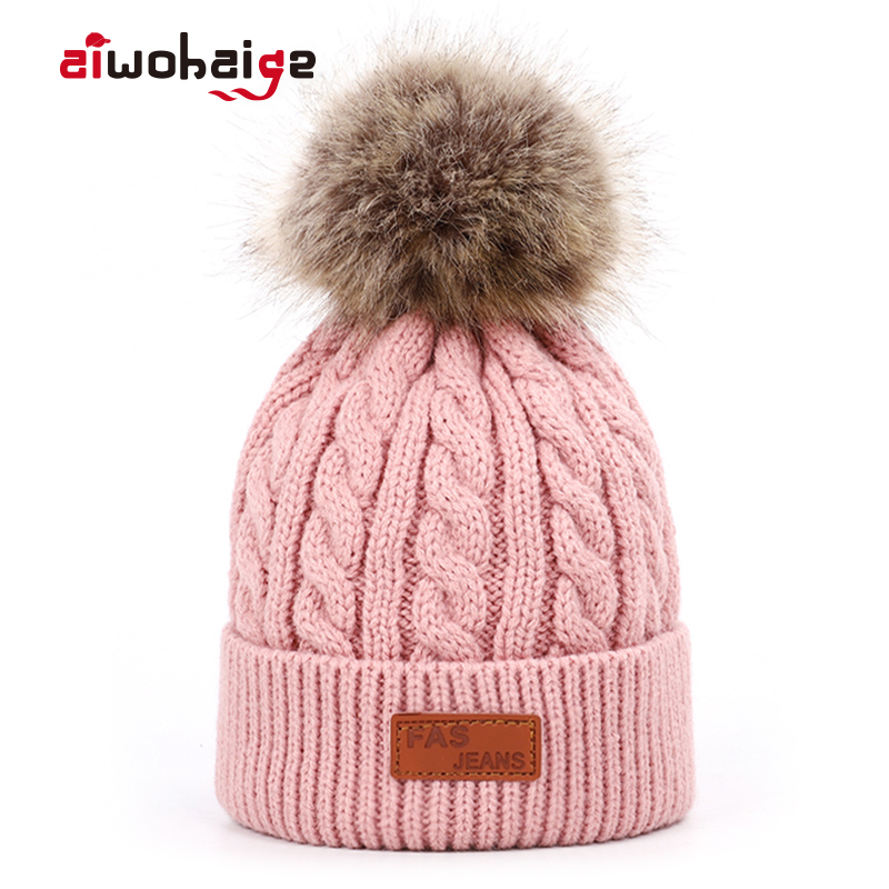 2019 new high quality winter children's pompom knit   beanie   Boys girls Solid color casual hat Kids warm Soft cap Baby   beanies