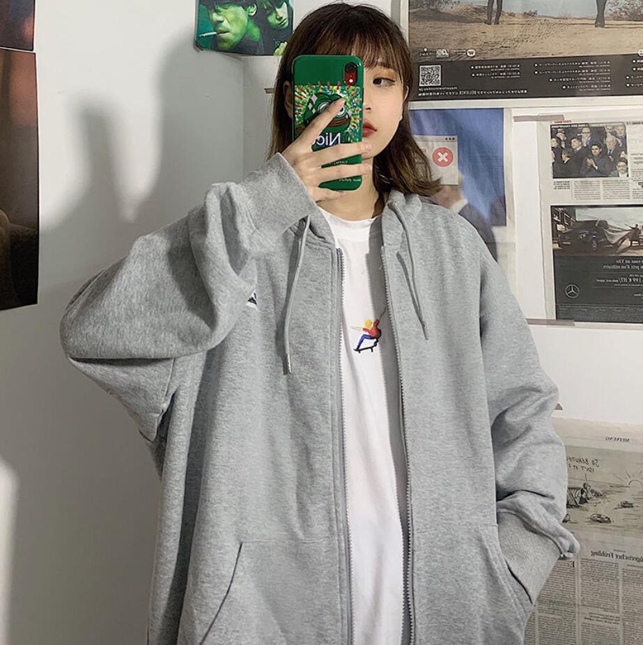 Harajuku Zip Up Sweatshirts Women Hoodies Korean Oversized Thin Clothes Plus Size Loose Casual Solid Color Shirt Long Sleeve Top 16