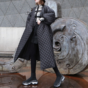 Image 4 - Новинка 2020, Женское зимнее пальто большого размера, винтажный буф с рукавом, клетчатая парка, Корейская черная хлопковая куртка, осеннее пальто, уличная одежда