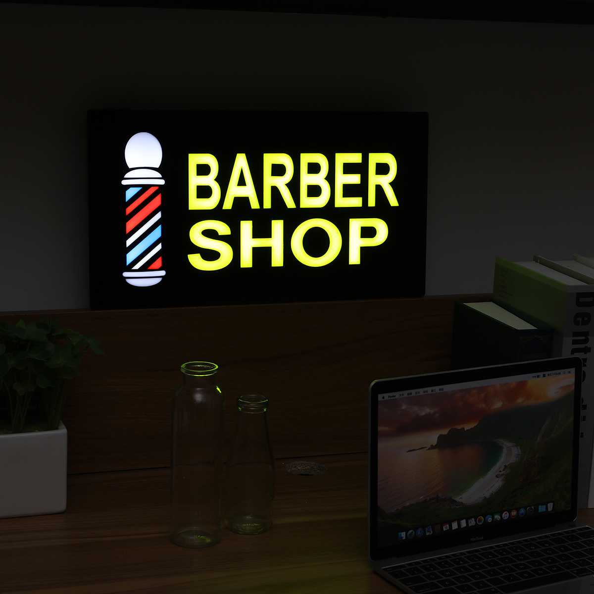 Barber Shop Hanging LED Sign Lights Board Pub Club Window Display Lamp Decoration Commercial Advertising Lighting 43*23*3.5cm