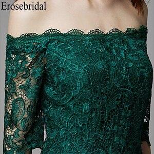 Image 4 - Erosebridal yarım kollu uzun resmi elbiseler gece elbisesi kadınlar için zarif tekne boyun uzun gece elbisesi 2019 zümrüt yeşili elbise