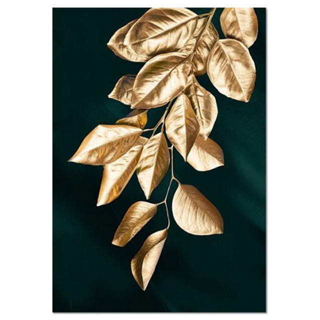 Abstract Golden Plant Leaves Picture Wall Poster Modern Style Canvas Print  Painting Art Aisle Living Room Unique Decoration|Painting & Calligraphy| -  AliExpress
