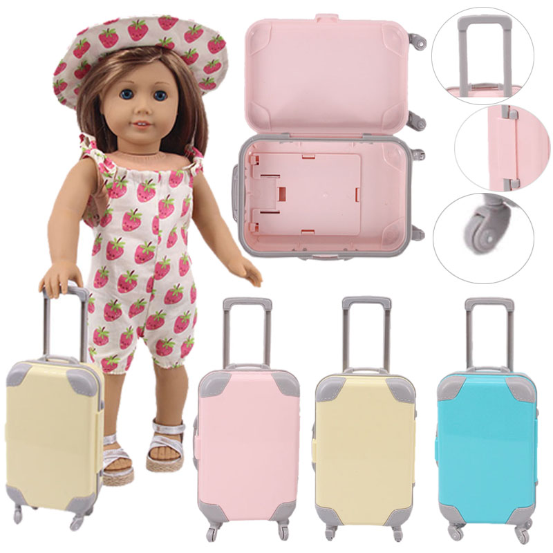 Doll 5 Colors Suitcase Travel Suitcase For 18 Inch American&43 Cm Baby New Born Doll For Our Generation Girl`s  Christmas Toy