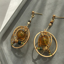 AMORCOME Korean Long Round Rotatable Planet Drop Earings for Women Round Dangle Earrings Pendientes Fashion Jewelry Brinco