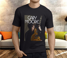 New GARY MOORE With Guitar Rock amp Blues guit Men's Black T-Shirt S-3XL Tee Shirt Printed Funny Design(China)