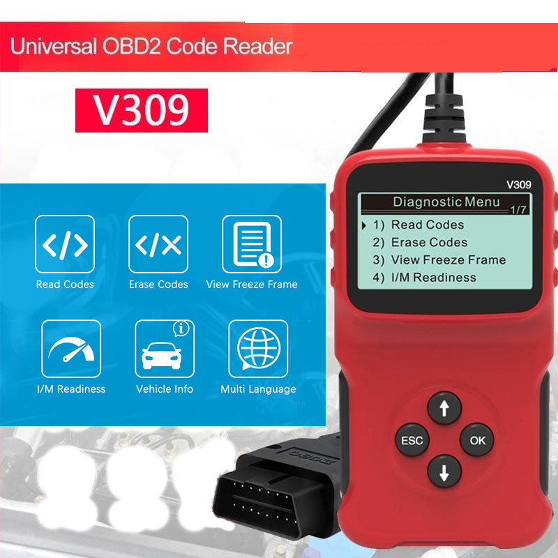 Newest V309 OBD2 OBDII Auto Car Diagnostic Scanner Handheld Car Diagnostic Repair Tool Automotive Erase Reset Fault Codes Reader