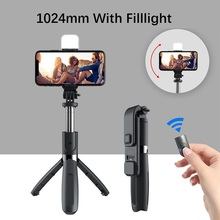 Wireless bluetooth Selfie Stick  With Fill Light Tripod Foldable Tripods & Monopods Universal For SmartPhones
