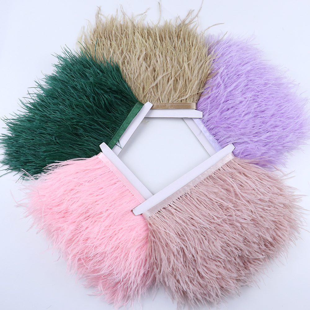 1 meter Multicolor Real Ostrich feather Trims Ribbon 8-10cm White Ostrich for Dress Clothing Decoration Sewing feathers Crafts