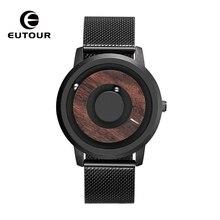 купить EUTOUR  Wooden dial stripe watches Luxury Brand Mens fashion Casual Quartz Watch Simple Men Round leather strap Wristw по цене 2735.51 рублей