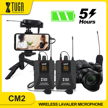 XTUGA Camera Microphone with Mini Rechargeable Receiver UHF Wireless Lavalier Mic for Phone DSLR Camera Interview Live Recording xtuga uhf wireless lavalier lapel microphone system live recording mic with rechargeable transmitter
