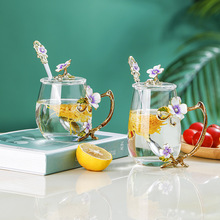 Enamel water cup flower tea cup crystal glass girl's lead free cup gift box