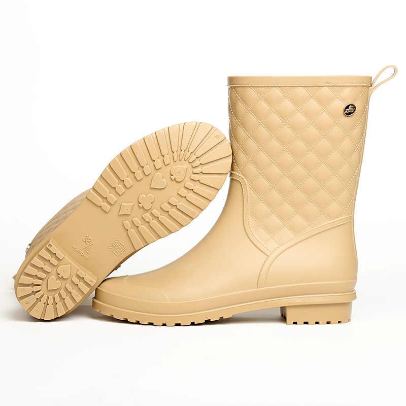 2018 kadın botları yağmur Italianate kauçuk yağmur botları galoş yağmur çizmeleri kadın su Bot kısa tüp galoş Zapatos De Mujer botları