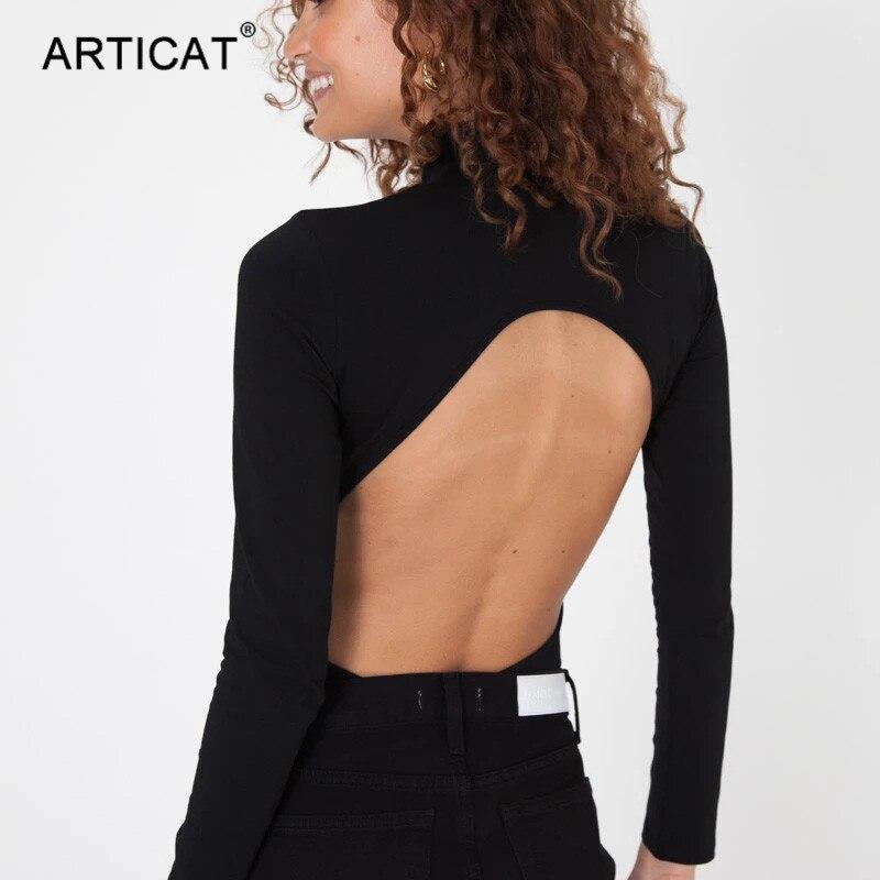 Articat Women Sexy Backless Turtleneck Bodysuit Long Sleeve Skinny Rompers Black Bodycon Jumpsuit Female Club Wear Ropa Mujer