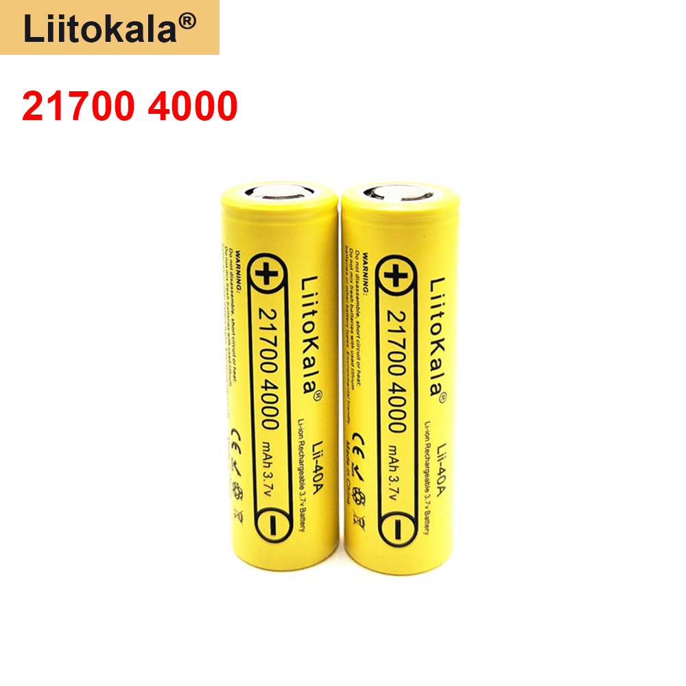 LiitoKala <font><b>3.7</b></font> <font><b>V</b></font> Lii-40A Li-ion <font><b>Battery</b></font> 21700 <font><b>4000</b></font> <font><b>mAh</b></font> 14.8W Rechargeable <font><b>Battery</b></font> by Electric Bicycle Headlight Tool image