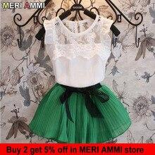 MERI AMMI/комплект одежды для маленьких девочек, кружевная футболка без рукавов с цветочным принтом+ юбка с бантом, верхняя одежда для девочек 3-11 лет, J546