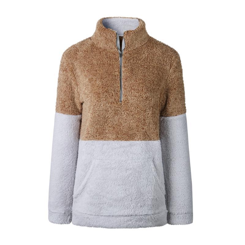Women Sweatshirt Autumn Warm Casual Fashion Winter Zipper Pullover Long Sleeve Female Tops