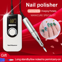 Máquina pulidora eléctrica portátil para uñas, recargable, 35000rpm, profesional, para manicura, taladro de cerámica para uñas