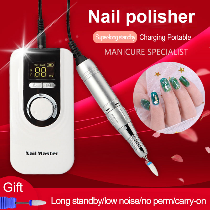 Portable Rechargeable Electric Nail Drill Machine 35000rpm Professional Manicure Drill Machine Art Ceramic Nail Drill Bits Set