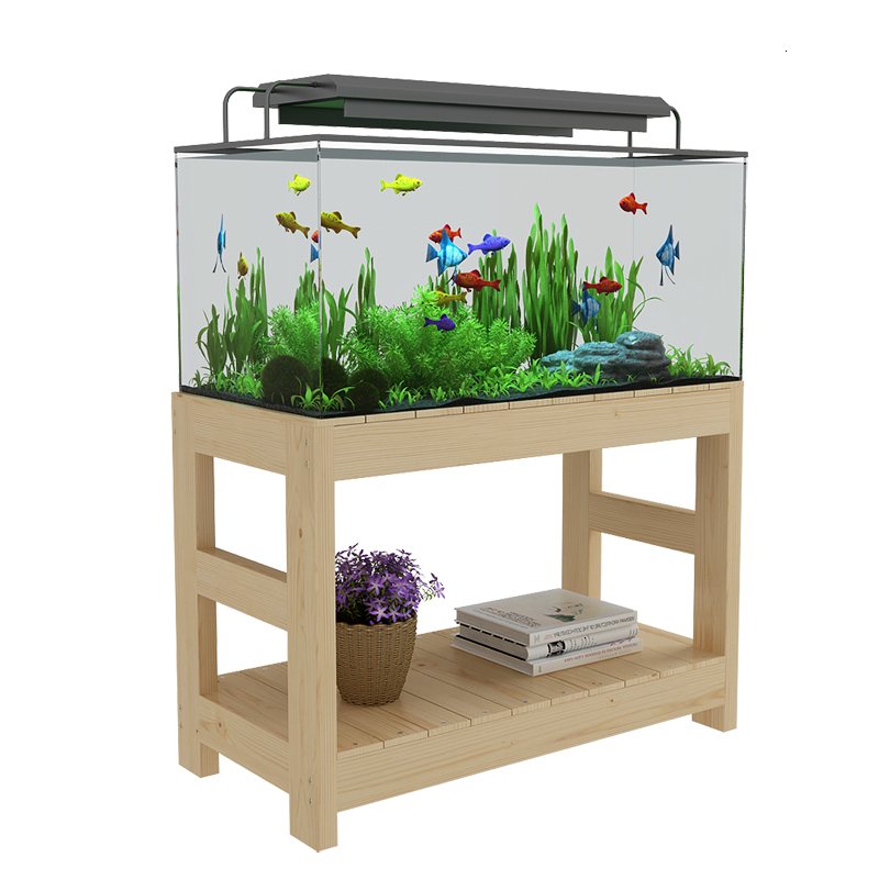 Tank Shelves Solid Wood Base Flower Rack Simple And Easy Bottom Cabinet Wooden Frame Son Multi-storey Shelf Fish Tank Base