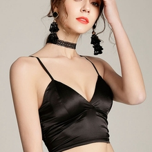Crochet Top T-Shirt Padded Camisole Crop-Tops Spaghetti-Strap Satin Bralette Female Sexy